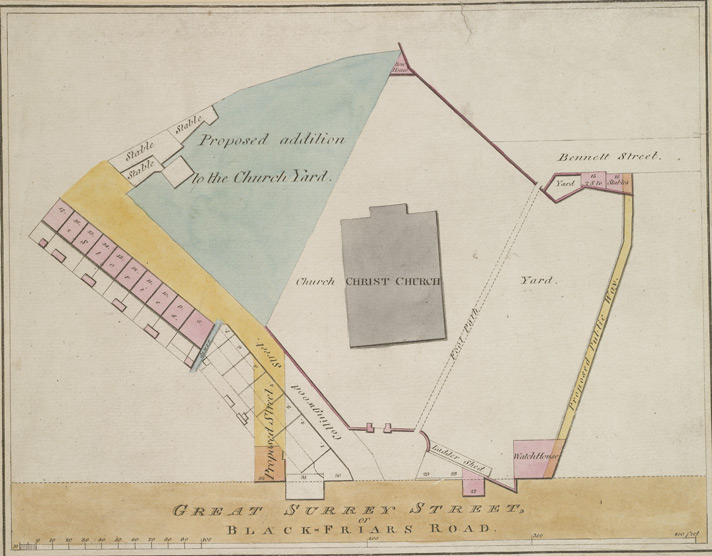 [Plan of a new street near Christ Church, and addition to Church Yard]